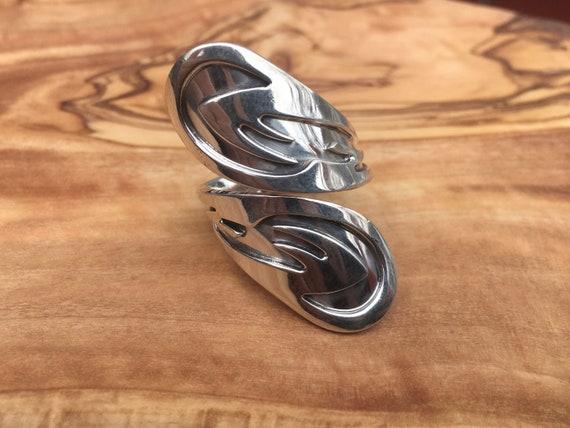 Fine Silver Spoon Ring. Size 9-9.5