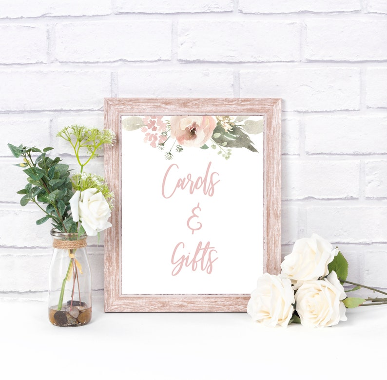 Girl/'s Baby Shower Guest Book Printable Baby Shower Sign Dusty Pink Guest Book Sign Greenery Baby Shower