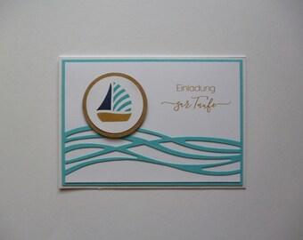 8x Einladung Zur Taufe * Boot * Weiß Türkis * Junge * Einladungskarten *  8er Set