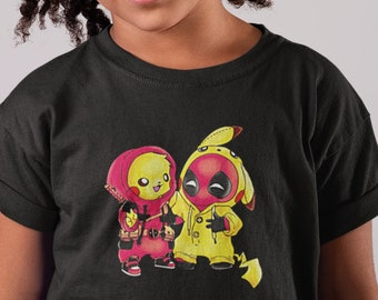 e1ab5d5e Kids Pokemon Deadpool Game Movie Inspired Funny Shirt