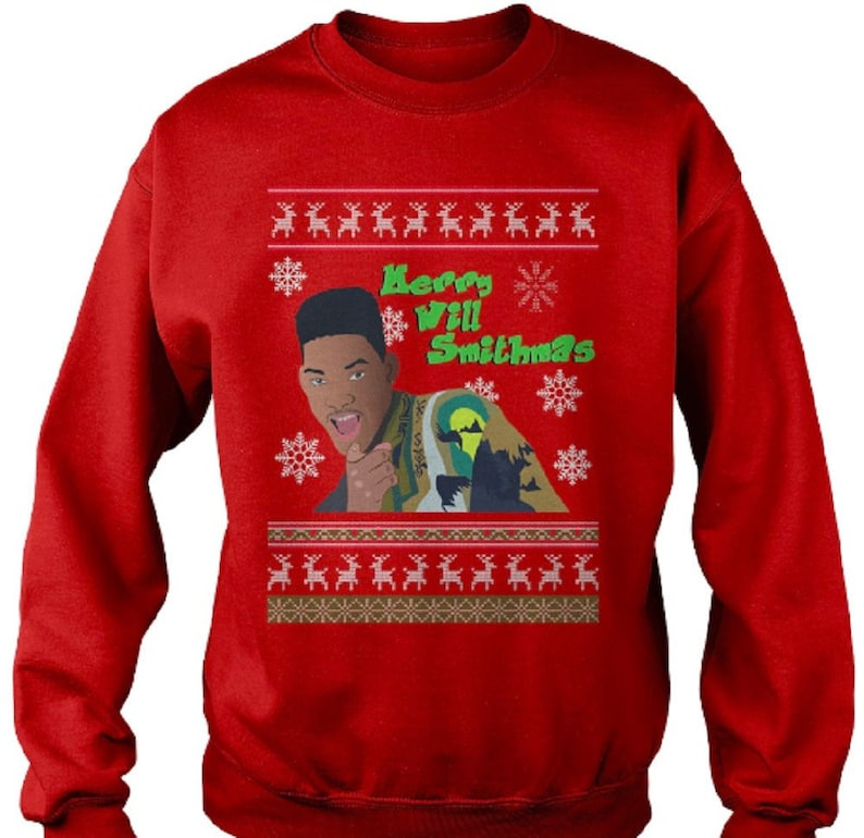 Will Smith Christmas Sweater.Red Will Smithmas Bad Boys Fresh Prince Funny Ugly Christmas Sweater Jumper Sweatshirt
