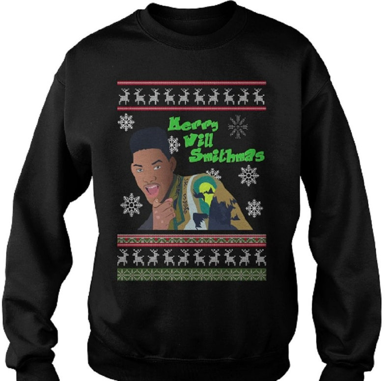 Will Smith Christmas Sweater.Will Smithmas Bad Boys Fresh Prince Funny Ugly Christmas Sweater Jumper Sweatshirt