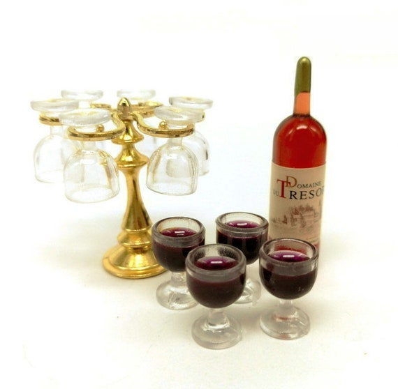 1 Set metal cup holder with 4 wine glasses dollhouse miniature accessories FJSLD