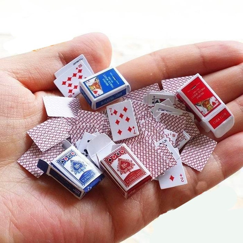 Miniature Poker Playing Cards Dollhouse Miniatures Dollhouse Decoration Miniature Dnd Dollhouse Miniature Artisan Photography Props