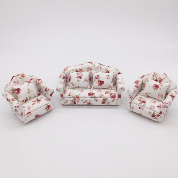 Fine Miniature Sofa Set Of 3 With Pillow Miniature Furniture Dollhouse Miniatures Gift For Her Dollhouse Miniature Artisan Photography Props Onthecornerstone Fun Painted Chair Ideas Images Onthecornerstoneorg