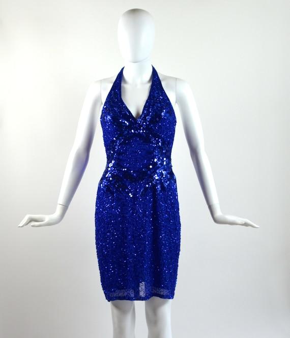 Vintage Blue Sequin Halter Dress