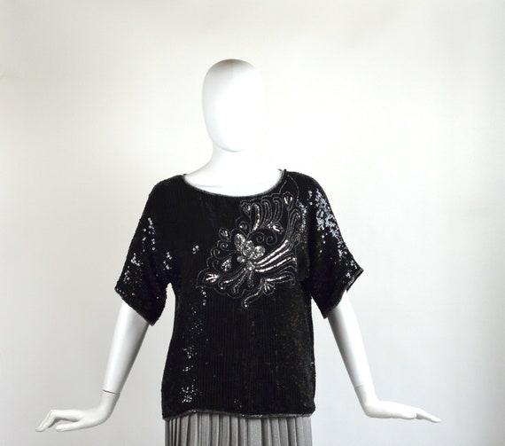 Vintage Floral Sequin Blouse