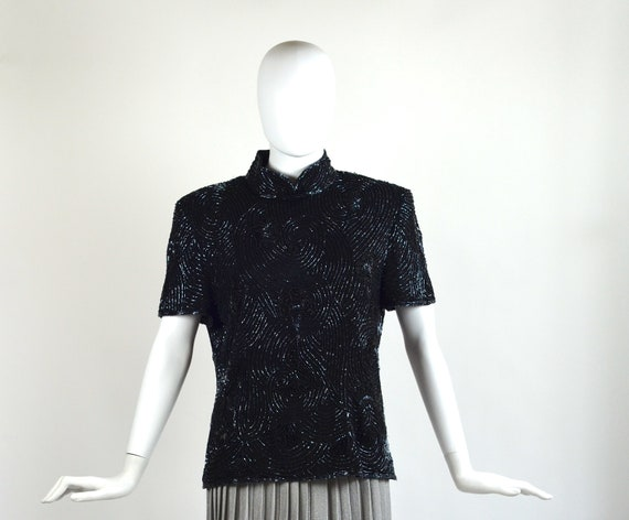 Vintage 80's Black Beaded High Neck Blouse