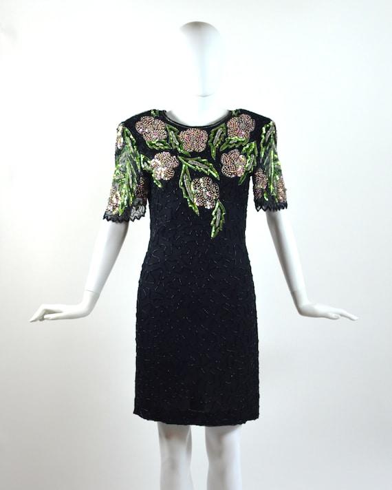 Vintage Pink & Green Floral Sequin Dress