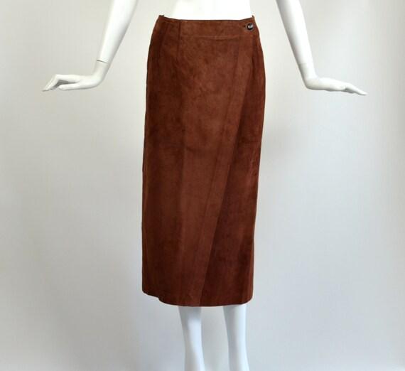 Vintage Brown Suede Wrap Skirt