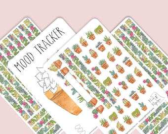 Succulent Watercolor Bullet Journal Stickers, Succulent Set, Succulent Kit, Planner Stickers, Notebook Stickers, Calendar Stickers, A5