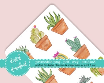 Printable Succulent Cactus Boho Watercolor Stickers Clip Art Print and Cut Party Decorations Invitations Journal Planner PDF JPG SVG S3