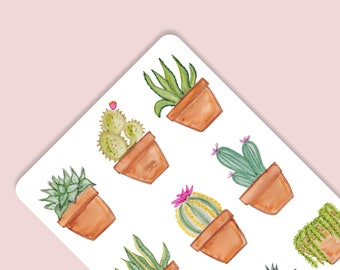 Succulent Cactus Boho Watercolor Stickers for Party Decorations Goodie Bags Tags Invitations Thank You Notecards Bullet Journal Planner