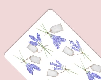 Spring Lavender Flower Herb Watercolor Stickers Party Decorations Goodie Bags Tags Invitations Thank You Notecards Bullet Journal Planner