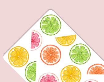 Citrus Lemon Lime Orange Grapefruit Watercolor Stickers for Party Decorations Goodie Bags Tags Invitations Notecards Bullet Journal Planner