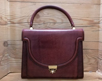 28727252913670 Vintage square leather brown handbag