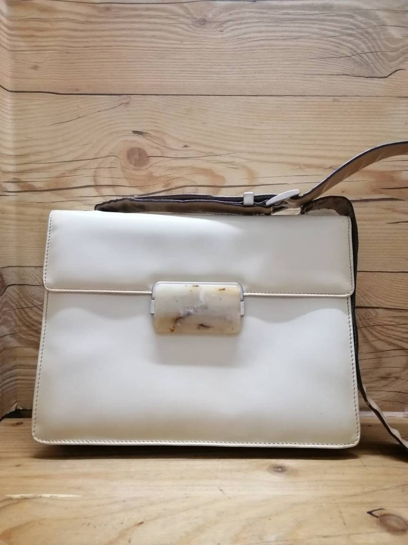 edd8fb988c11d Vtg PRADA MILANO 80s shoulder square handbag