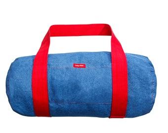Sports Bag Bag Sport Training Bag Trim yourself for training Unisex Jeans Pouch Enduring bag Handle Blue 48 x 32 cm Red details