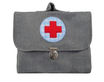 Children Doctor's Case Doctor Case Doctor Bag Bag Doctor Bag PediatricIan Bag Felt Grey 26 x 22 cm Red Cross