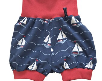 Pump pants 68-74 short baby pants summer boys blue whales