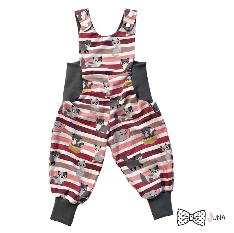Latzhose Baby Pants Romper Suit Baby Suit Cat Kitten Girls Pink Grey Pink Jumpsuit 62 86 74 80 86 92 98 104 110 116 122 128 134