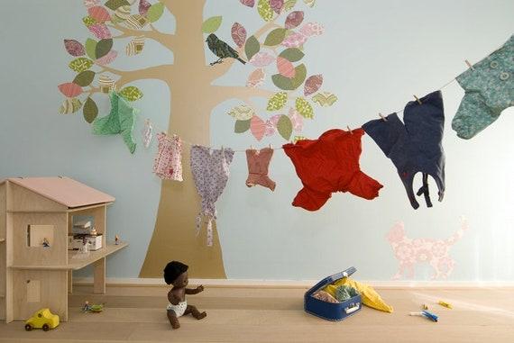 Behang Boom Kinderkamer : Boom ii kinderkamer behang gemaakt van fleece etsy