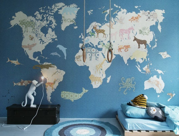 Weltkarte Kinderzimmer Tapete Aus Vlies Etsy