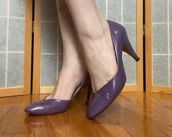 Vintage 1980's purple leather Sasso Marconi heels, size 8