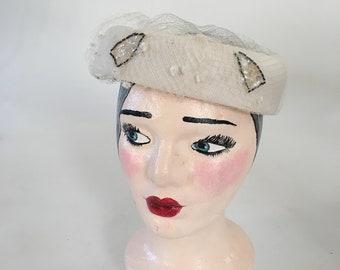 26d79b24d5d15 Vintage 1960's White Round Pillbox Hat with Sequin Bead Details
