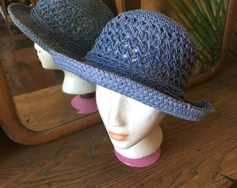 b0c38977785 Vintage Blue Woven Bucket Hat with Flower