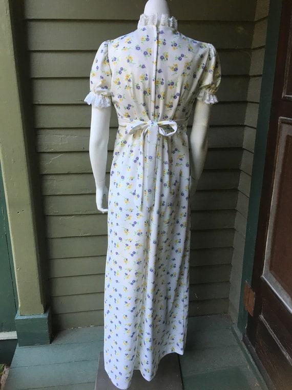 Vintage 1970's White Polyester Maxi Dress - image 2