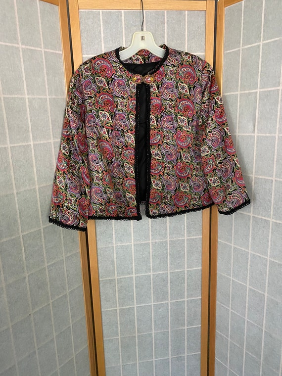 Vintage 1940's Rainbow Paisley Silk Cropped Jacket