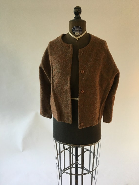 Vintage 1940, 1950 Rust Brown Cardigan Sweater, Si