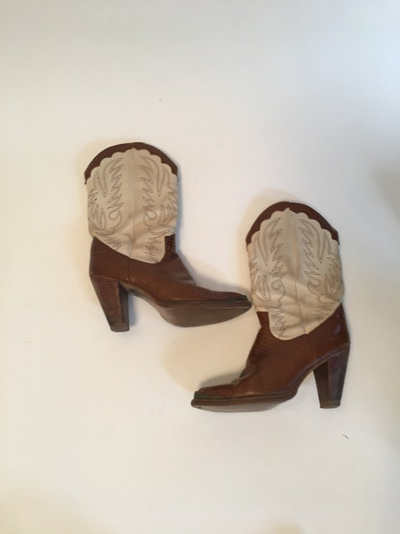 Vintage 1980's White and Brown Leather and Reptile
