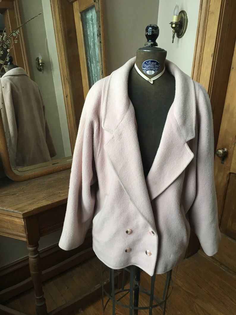 Davanna Vintage 1980 Light Pink Double Breasted Wool Coat