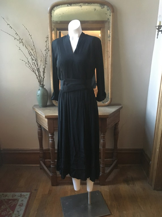 Vintage 1940's Black Dress with Belt