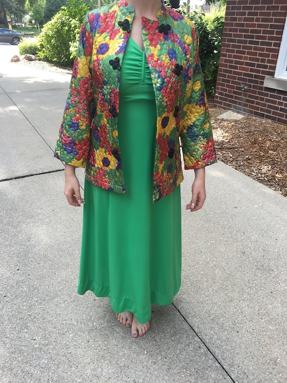 Vintage Green Dress with Multicolor Quilted Jacket