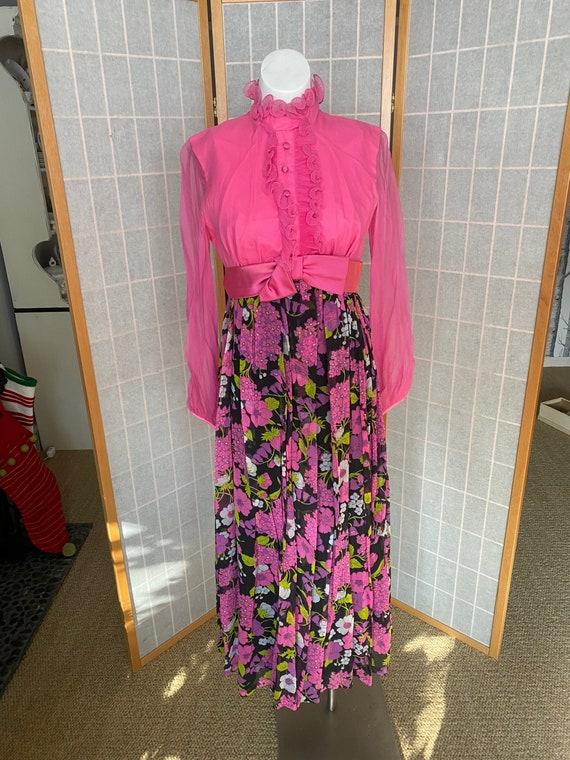 Vintage 1970's hot pink floral maxi dress