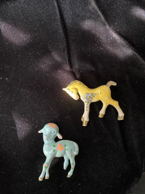 Vintage 1930's 1940's Celluloid Sheep and Horse Po