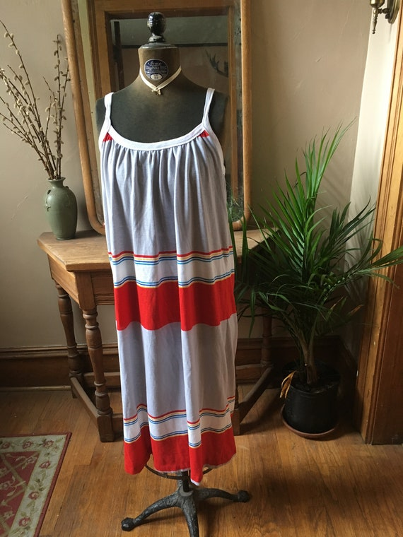 Vintage Gray and Rainbow Dress