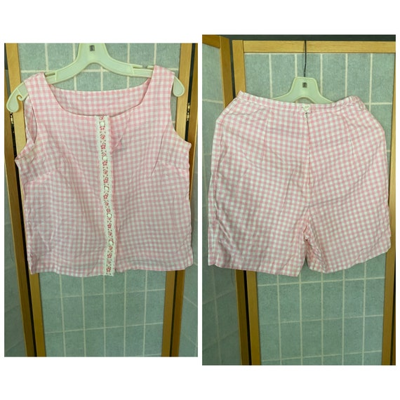 Vintage 1950's 1960's Pink and White Gingham Plays