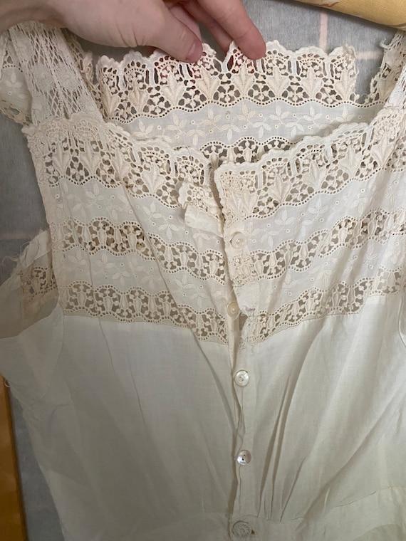 Vintage antique white cotton petticoat dress, 190… - image 5