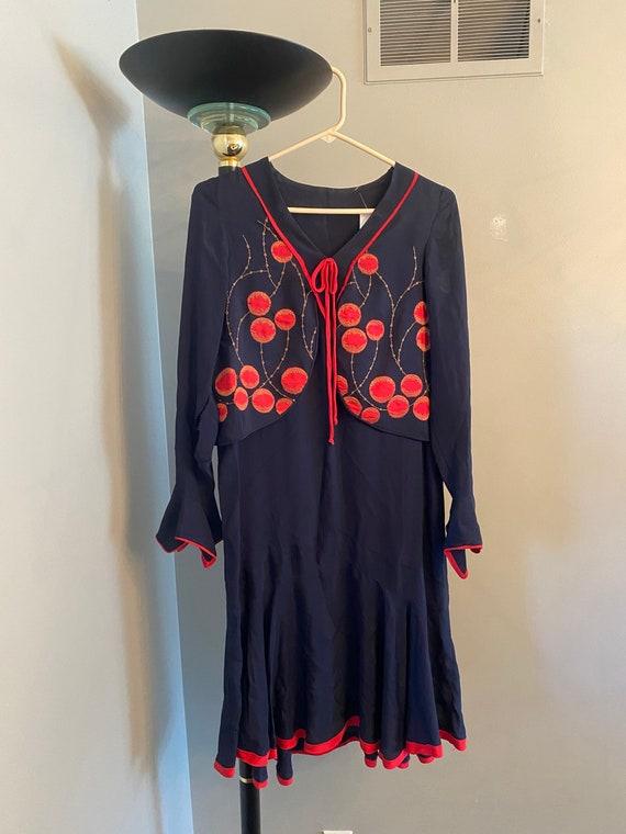 snaps at side seam XL Antique Vintage Dark Navy Blue Silk Chiffon Dress  Large size L Plus  handmade 1920s dropped waist  Edwardian