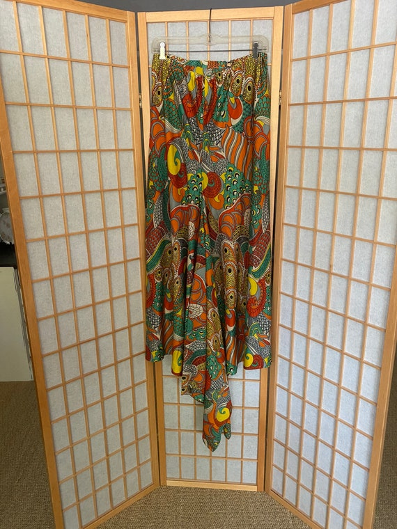 Vintage psychedelic 1970's orange and yellow skirt