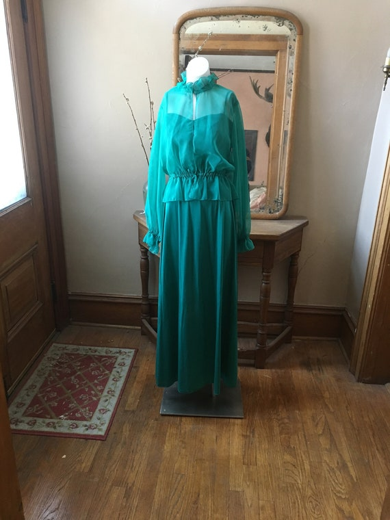 Vintage 1970's Green Bridesmaid Gown