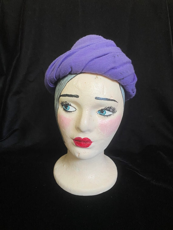Vintage 1940's purple wrap hat, wool with combs f… - image 1