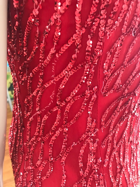 Vintage 1980s Full length red silk sequin dress - image 8