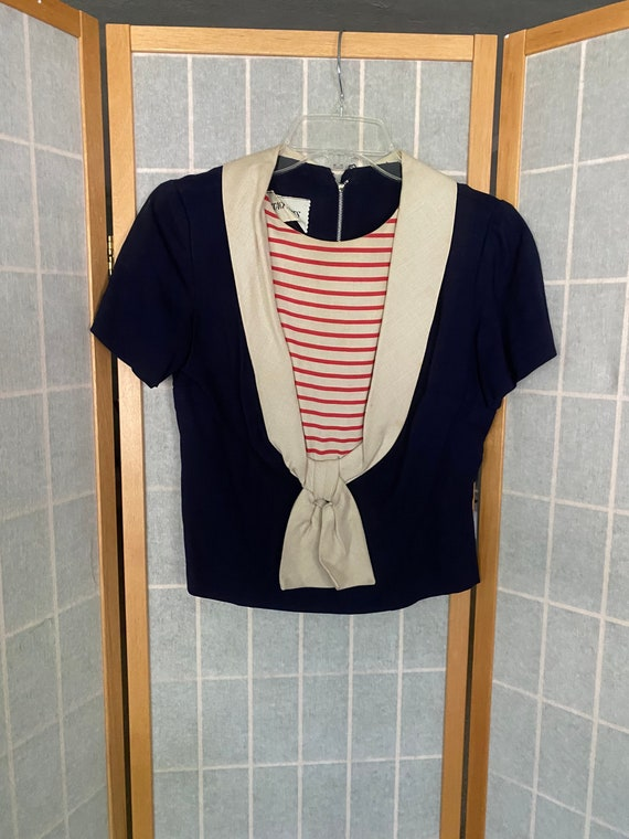 Vintage 1950's red, white and blue nautical Stacy
