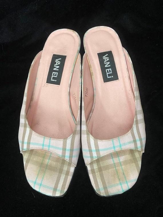 Vintage 1990's pink plaid Van Eli mules, size 7.5 - image 5