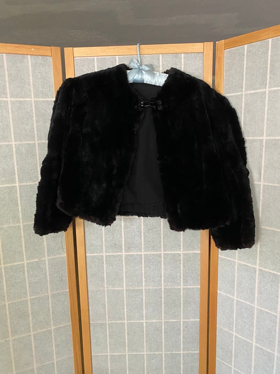 Vintage 1940's 1950's black rabbit fur bolero